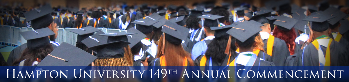 149th Annual Commencement - May 12, 2019 - Image of students in graduation garb facing away from the camera.